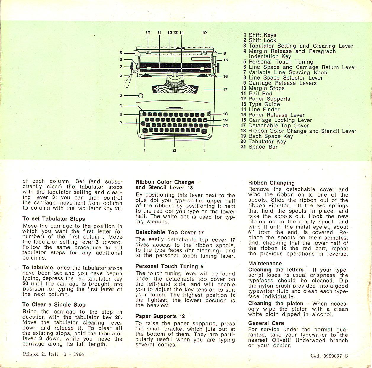typewriter user s manual olivetti underwood lettera 32 circa 1964 rh munk org Olivetti Typewriter Ad Olivetti Calculator